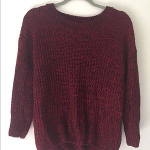 Sweaters - red cable knit sweater